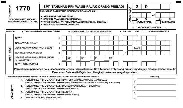 Formulir Spt 1770 Atau Formulir Spt Tahunan Pph Wajib Pajak Orang Pribadi Guru Folder Pendidikan