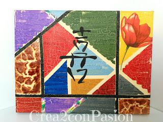 Cuadro-stencil-motivo-chino-decoupage-craquelado-foil-polvo-de-angel-multitécnicas-Crea2-con-Pasión