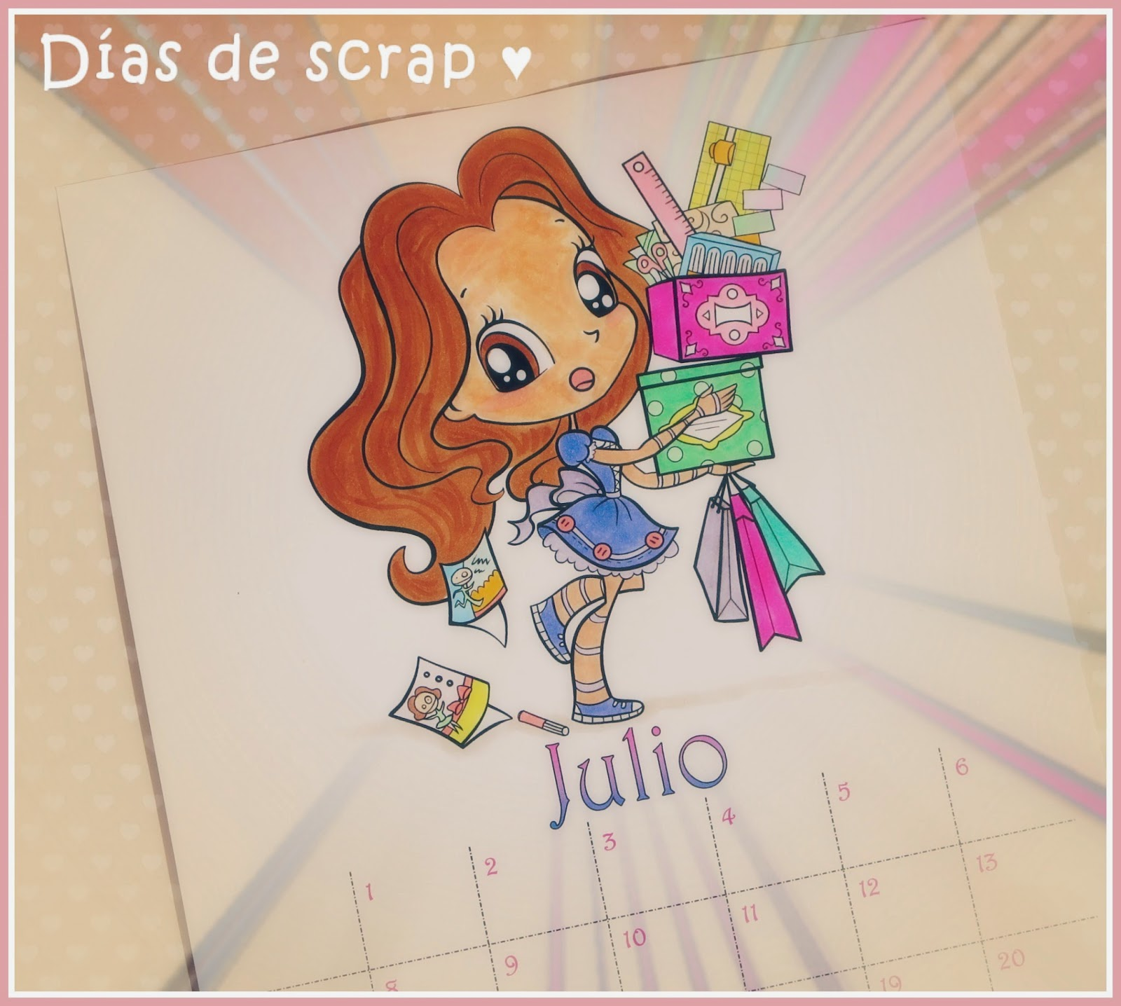 Calendario scrap mes de julio Alicia Bel