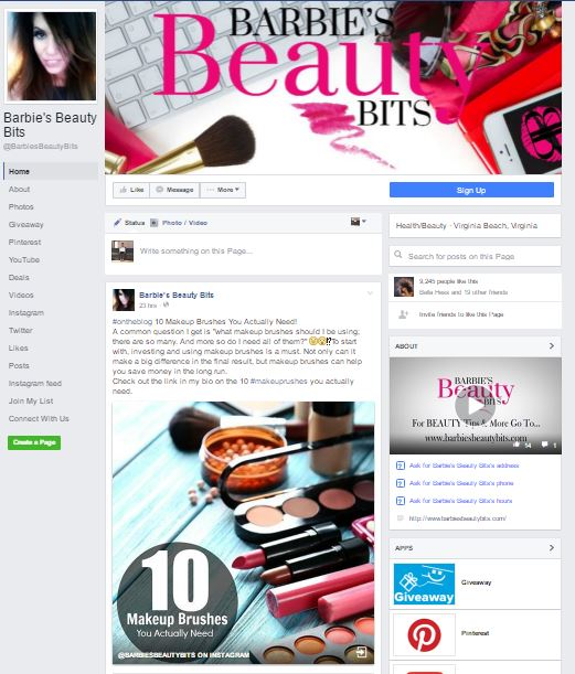 Facebook's new business page layout by barbies beauty bits