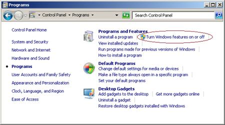 program feature windows7