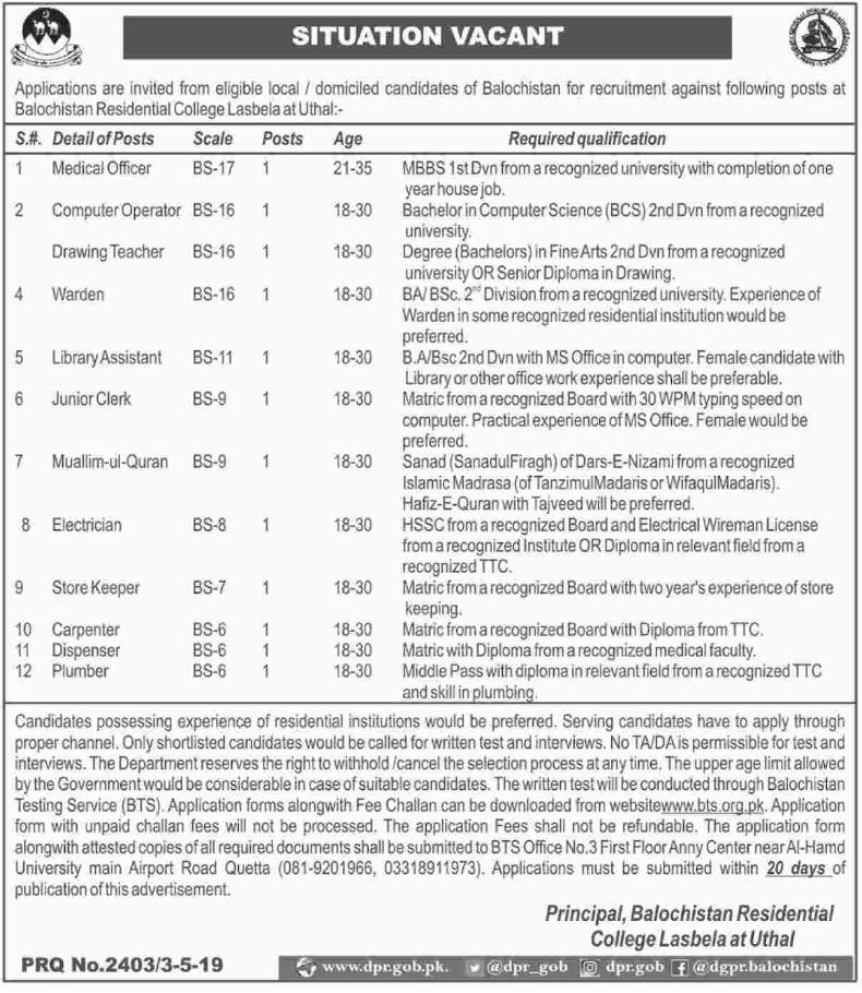Advertisement for Balochistan Residential College Jobs