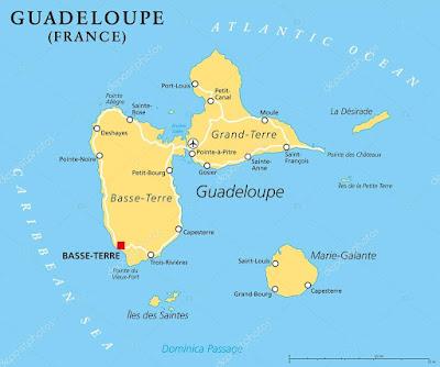 Carte de la Guadeloupe en forme de papillon et ses îles voisines : Marie Galante, Les Saintes : Terre de Haut et Terre de Bas, la Désirade