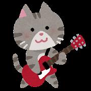 ネコのギタリストのイラスト