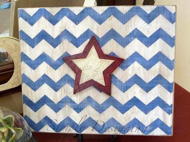 chevron05 Star & Chevron Stripe Patriotic Sign {4th of July decor} 27