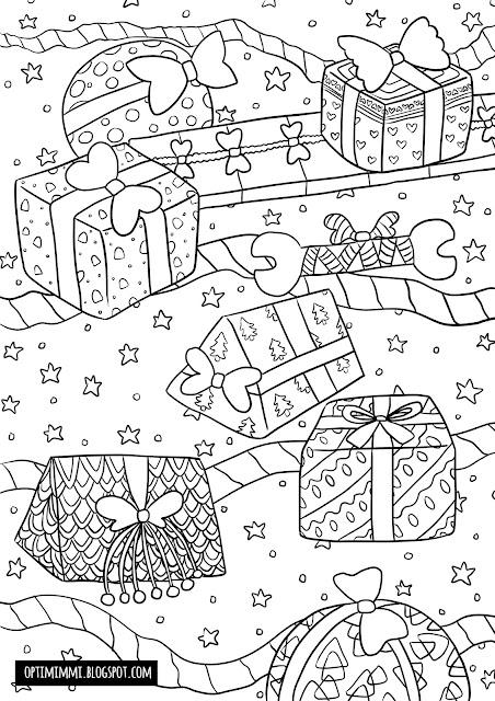 A Christmas-themed coloring page of gifts and stars / Jouluteemainen värityskuva lahjoista ja tähdistä