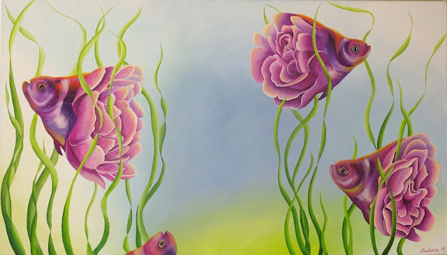 Hide-and-Seek-прятки-Elena-Malkova-Art-acrylic-painting-рыбы-цветы-водоросли-розовый