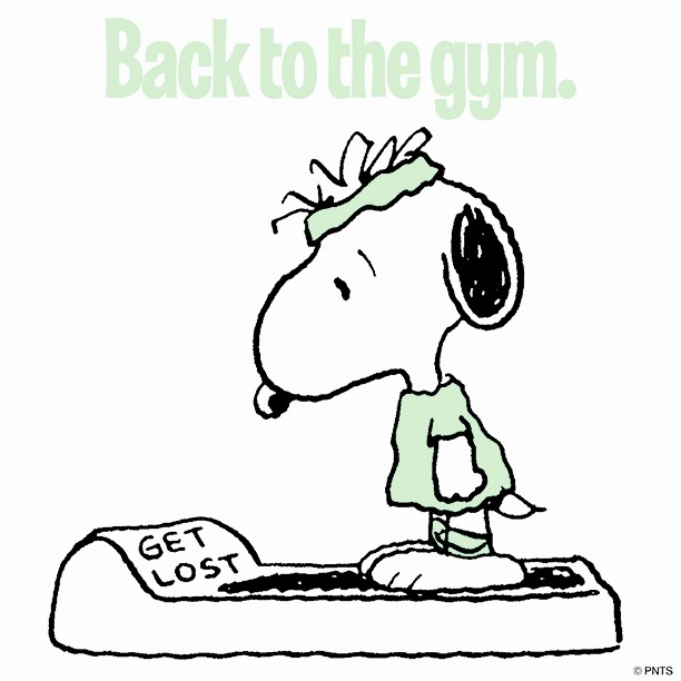 Snoopy stands on a scale in workout gear. Scale reads Get Lost. Title Back to the gym. Does sighing count as exercise?