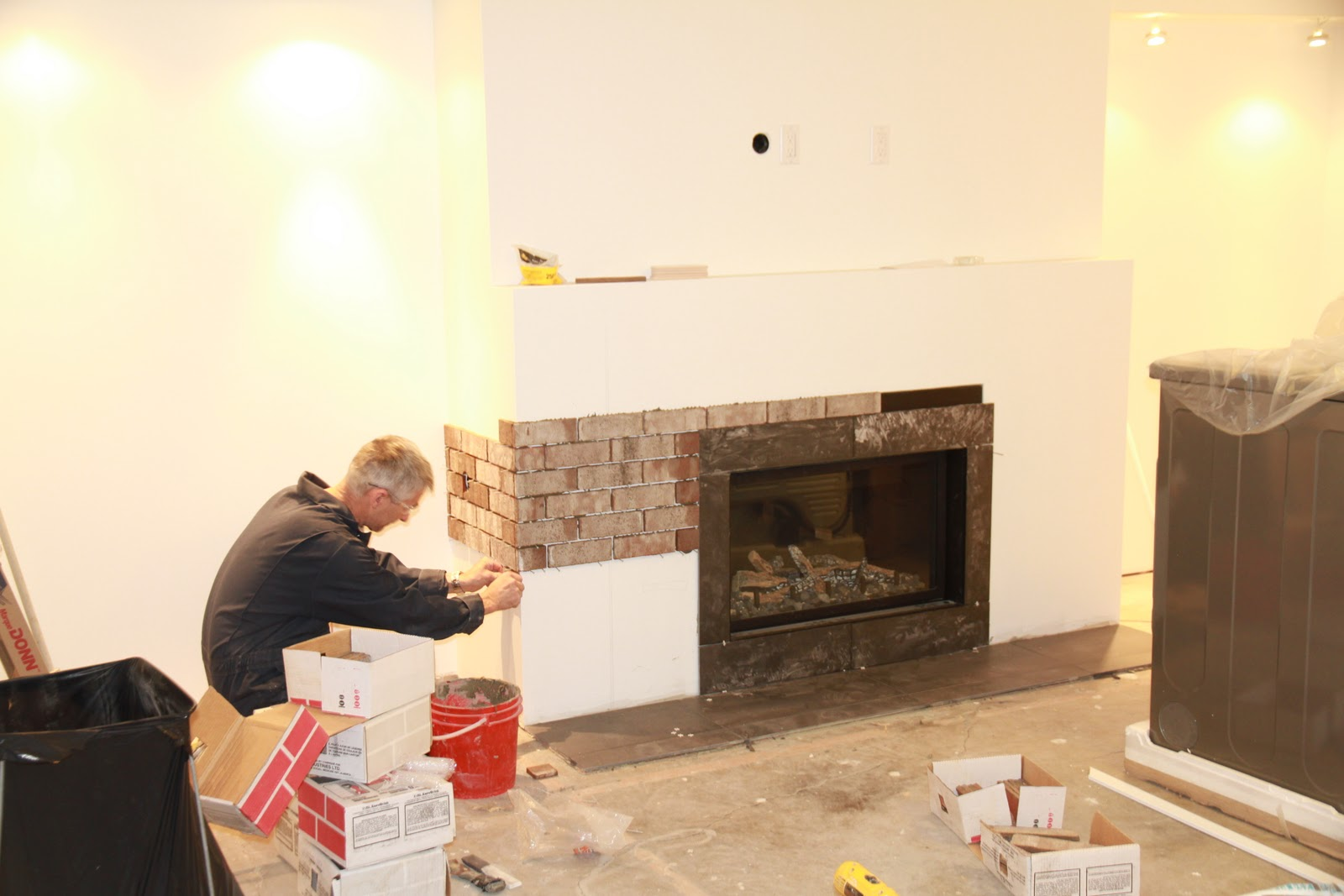 Bungalow 39 56 i know x actly what i want fireplace update - How to cover brick fireplace ...