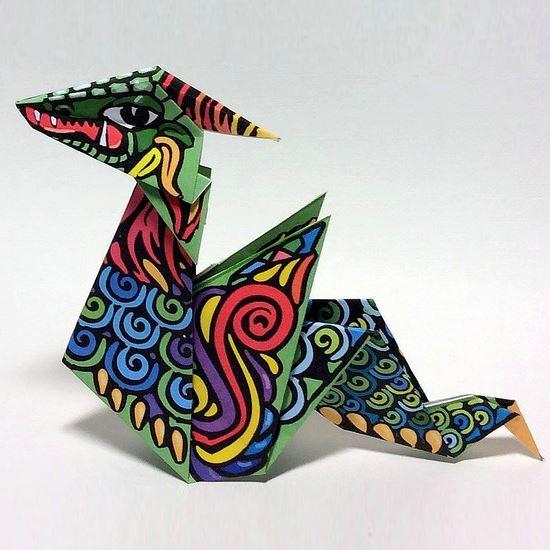 Printable Origami Dragon Tektonten Papercraft