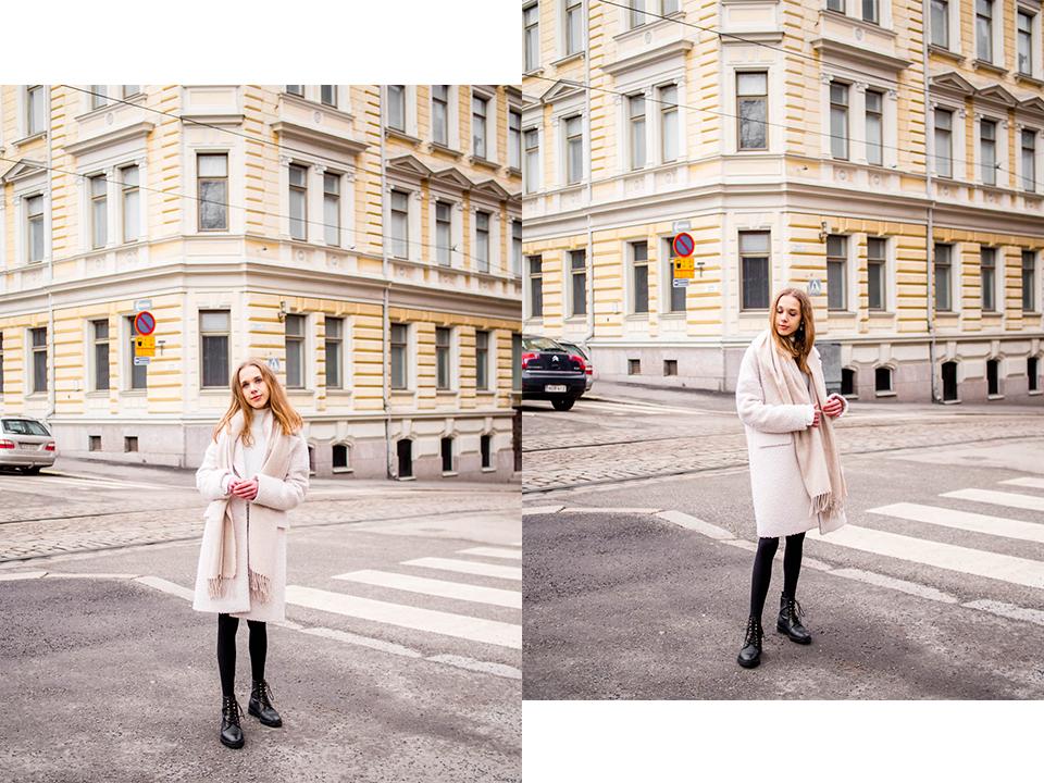 Winter outfit with teddy coat and lace up boots - Talvimuoti, teddy-takki ja nilkkurit, bloggaaja, Helsinki