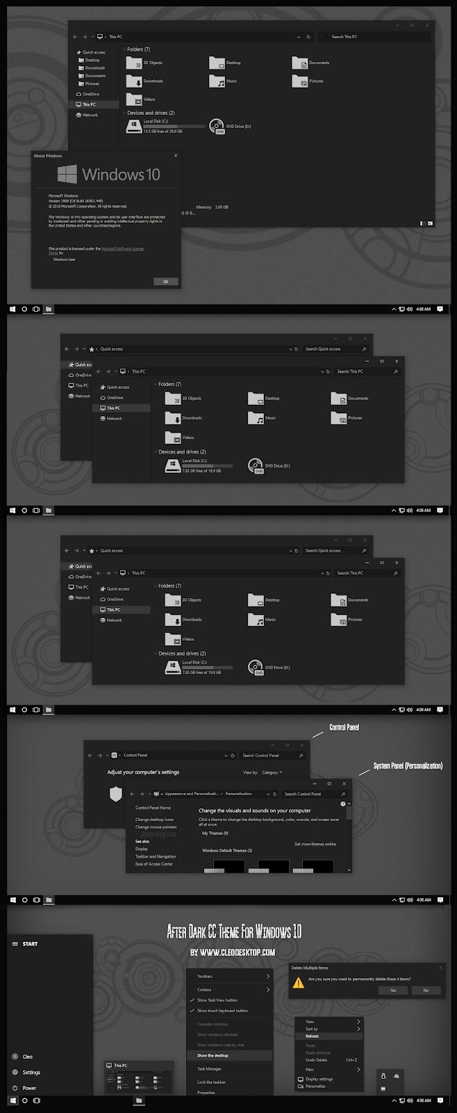 After Dark CC Theme For Windows10 November 2019 Update 1909