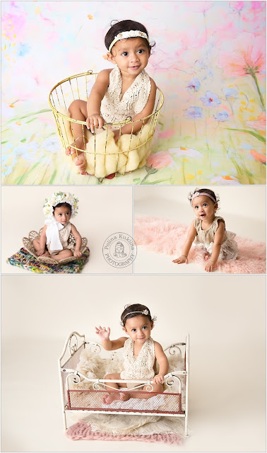 Baby-girl at her 9-months photo shoot in custom made outfits and a flower bonnet.