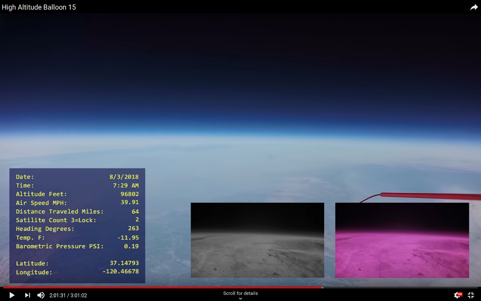 Earth curvature from a high-altitude balloon 29.5 km alt
