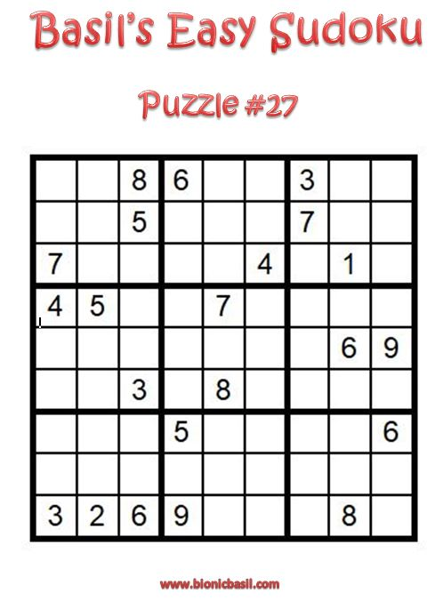 Basil's Easy Sudoku Puzzle #27 Brain Training with Cats @BionicBasil®