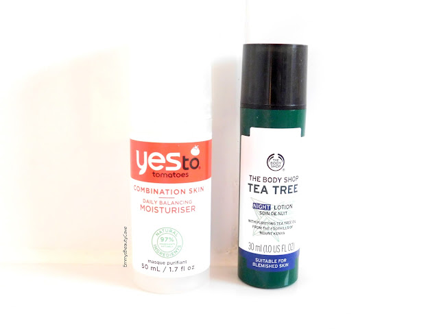 Yes To Tomatoes Daily Balancing Moisturiser, The Body Shop Tea Tree Night Lotion