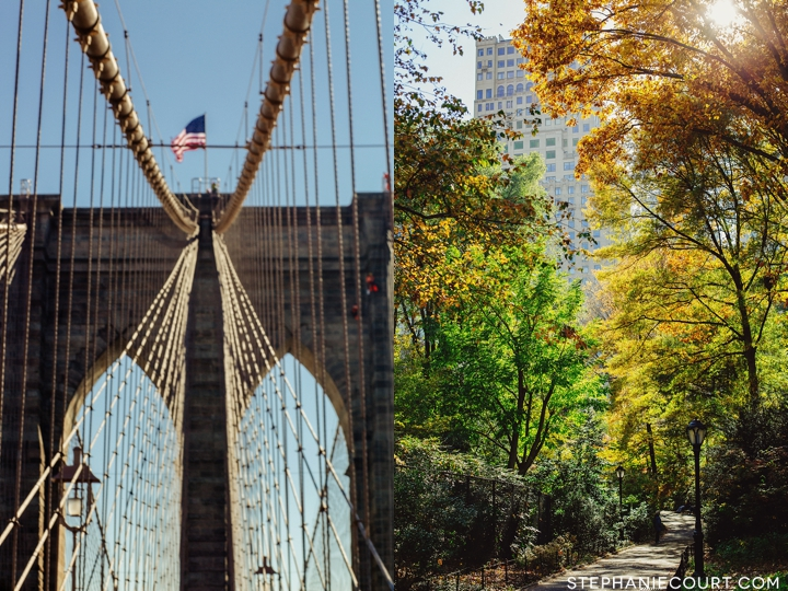 Brooklyn Bridge and Central Park in autumn