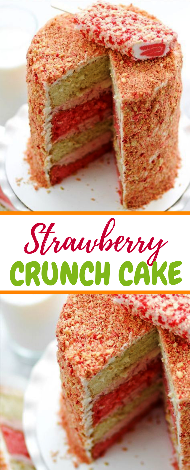 Strawberry Crunch Cake #dessert #yummycake