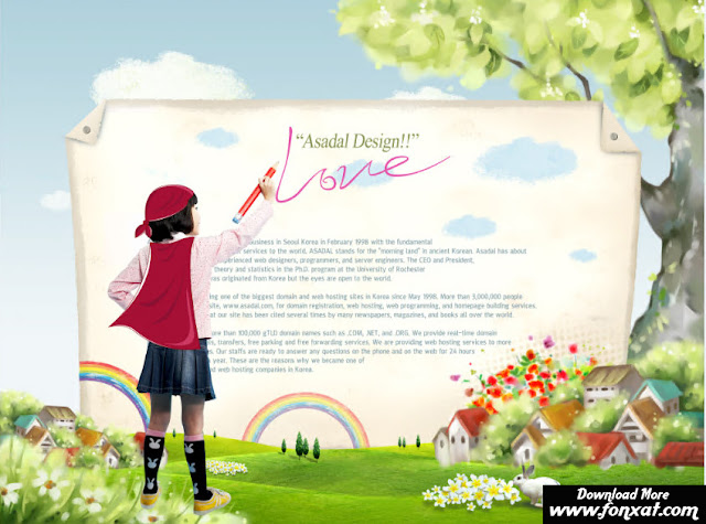 FREE PSD download : Girl design written on a large sheet