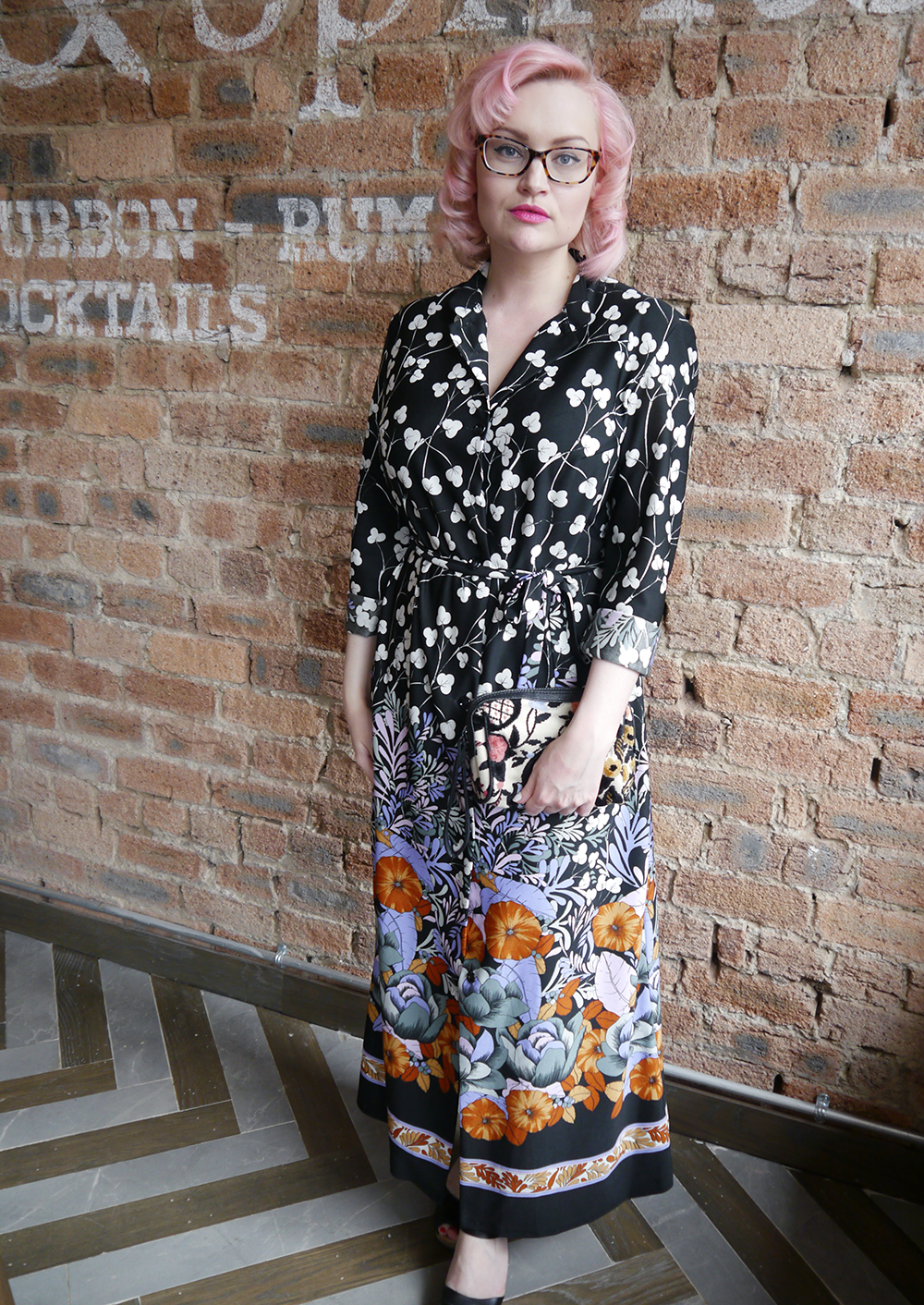 Wardrobe Conversations fashion blogger wearing 70s patterned maxi dress from Vintage Kilo Sale