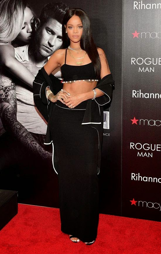 Rihanna launches new men's fragrance in a black Adam Selman attire in Atlanta