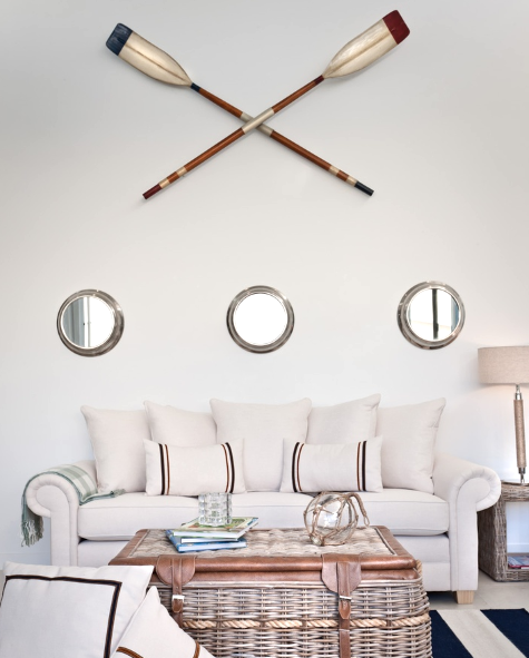 Porthole Mirrors and Oars Wall Decor Idea