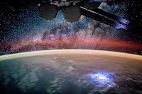 Earth, Lightning Storm, Airglow and Galactic Center of the Milky Way Galaxy seen from the International Space Station