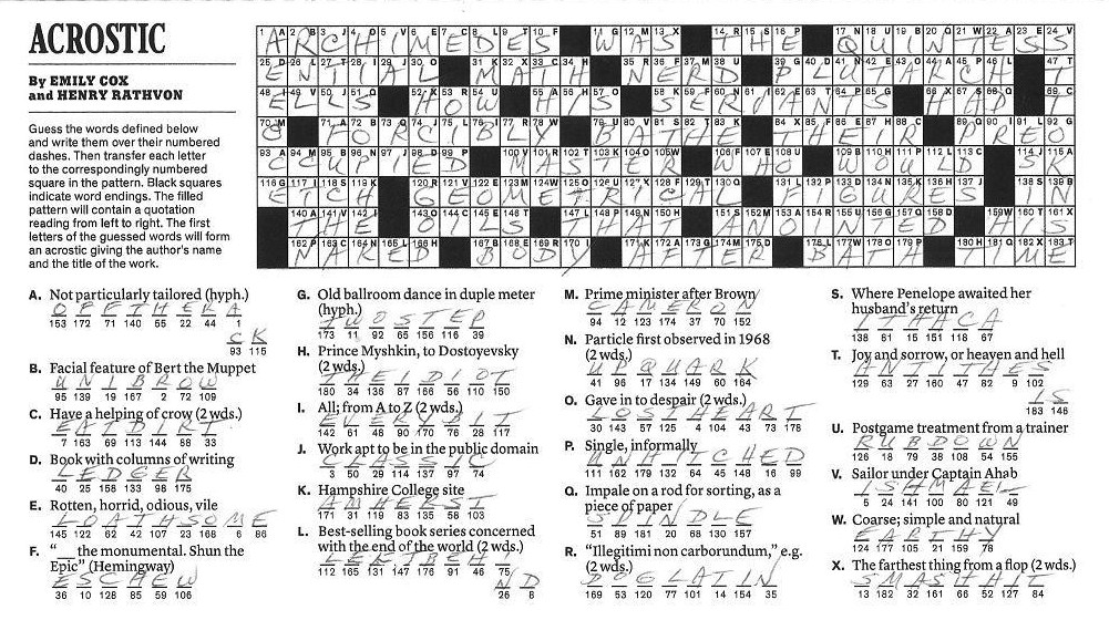 The New York Times Crossword in Gothic: 09.25.11 — Bath ...