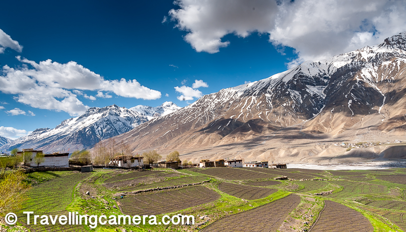 From Key monastery, you see brilliant views on the left. There is huge agricultural land with snow covered peaks & the Spiti river in background.