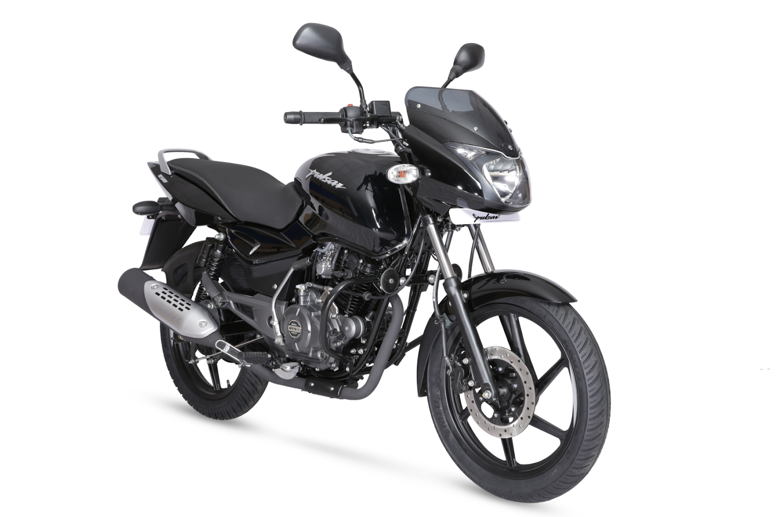 Coordinated headlamp eyebrows pulsar logo side panel mesh and alloy grab rail a 3d logo on the rear cowl and the colored alloy wheel decal complete