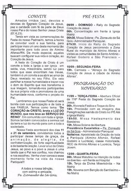 Paróquia de Almino Afonso divulga programação oficial da festa do padroeiro 2018