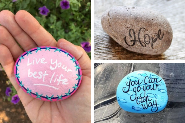 Kindness rock painting ideas - live your best life, go your own way, hope