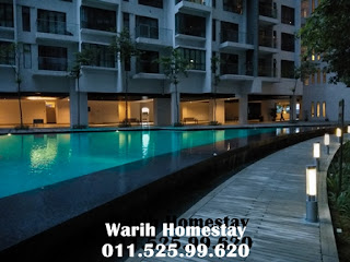 Warih-Homestay-Swimming-Pool-View-At-Night