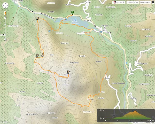 Ruta al Pico Gorrión: Mapa de la ruta