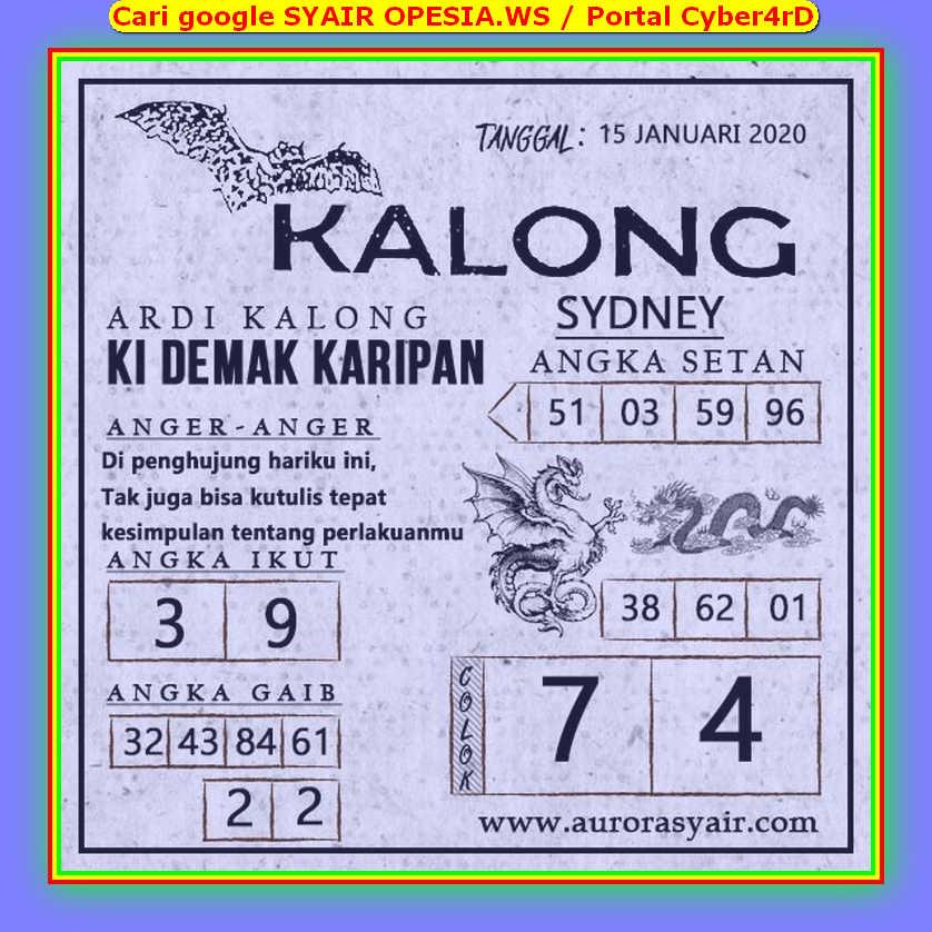 Kode syair Sydney Rabu 15 Januari 2020 91