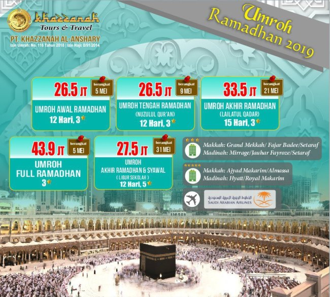 Paket umrah 2019 Khazzanah Tour