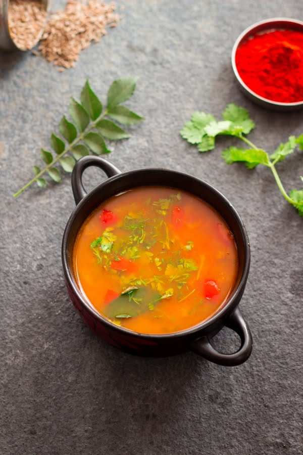 How to make Tomato Saaru Tili Saaru Tomato Rasam at www.oneteaspoonoflife.com