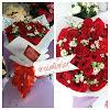 Hand Bouquet Mawar Merah + Pikok Putih