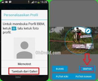 Cara isi foto profil BBM android