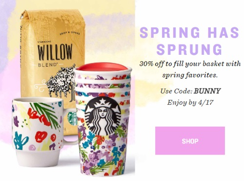 Starbucks Store 30% Off Spring Favourites Easter Sale