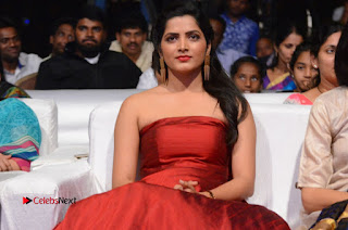 Pavani Pictures in Red Long Dress at Jo Achyutananda Movie Audio Launch ~ Celebs Next