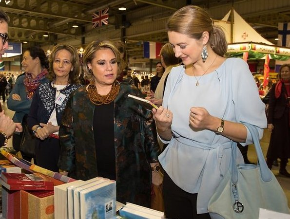 Princess Stephanie wearing Natan coat and Natan blue blouse, Princess Stephanie style, fashions