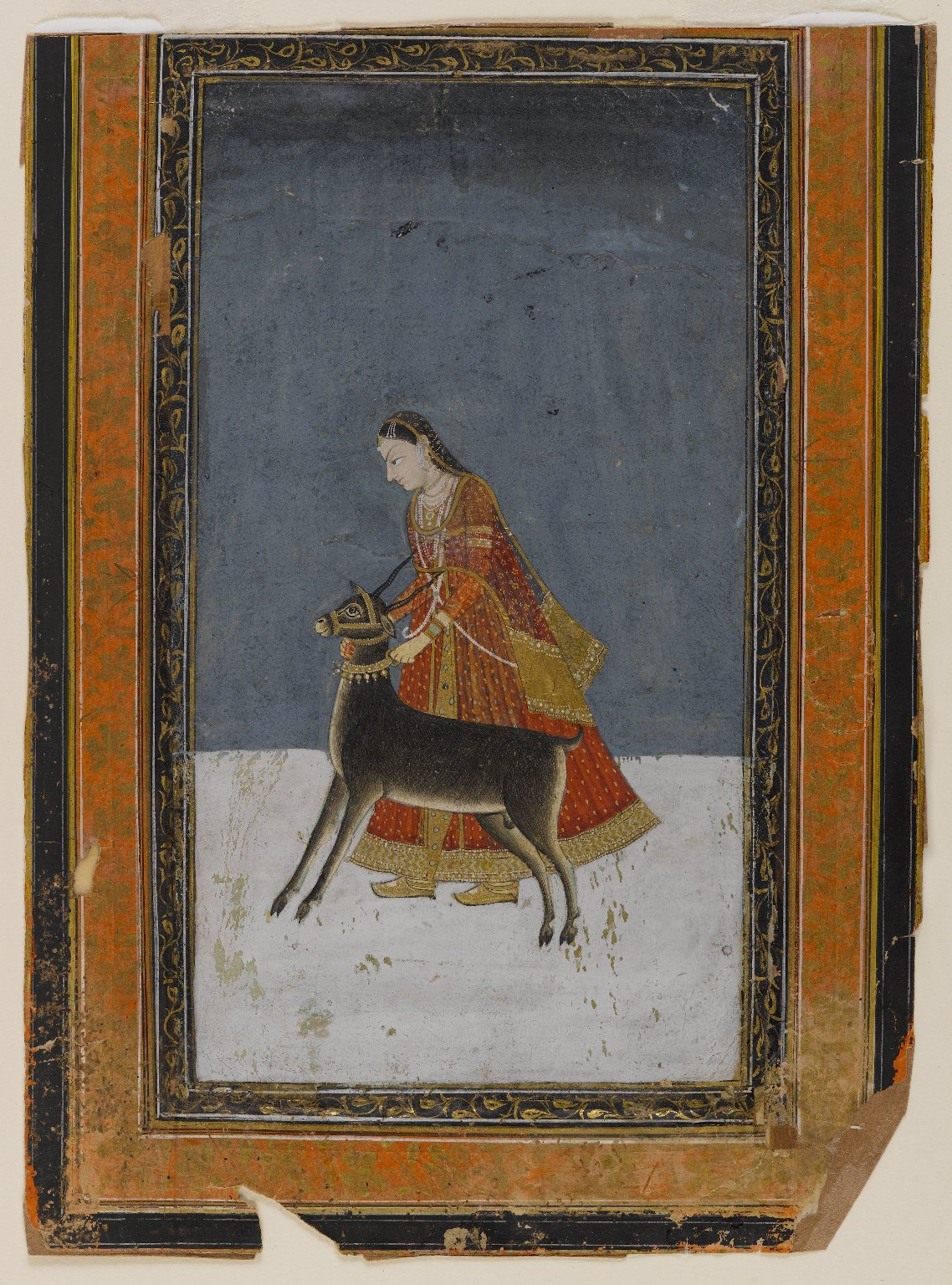 Lady with a Black Buck - Indian Miniature Painting, Circa 1750