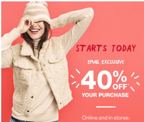 Gap 40% Off Entire Purchase Promo Code