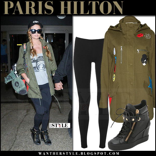 Paris Hilton in green canvas alice and olivia cheryl parka, leggings and black wedge sneakers what she wore march 2017