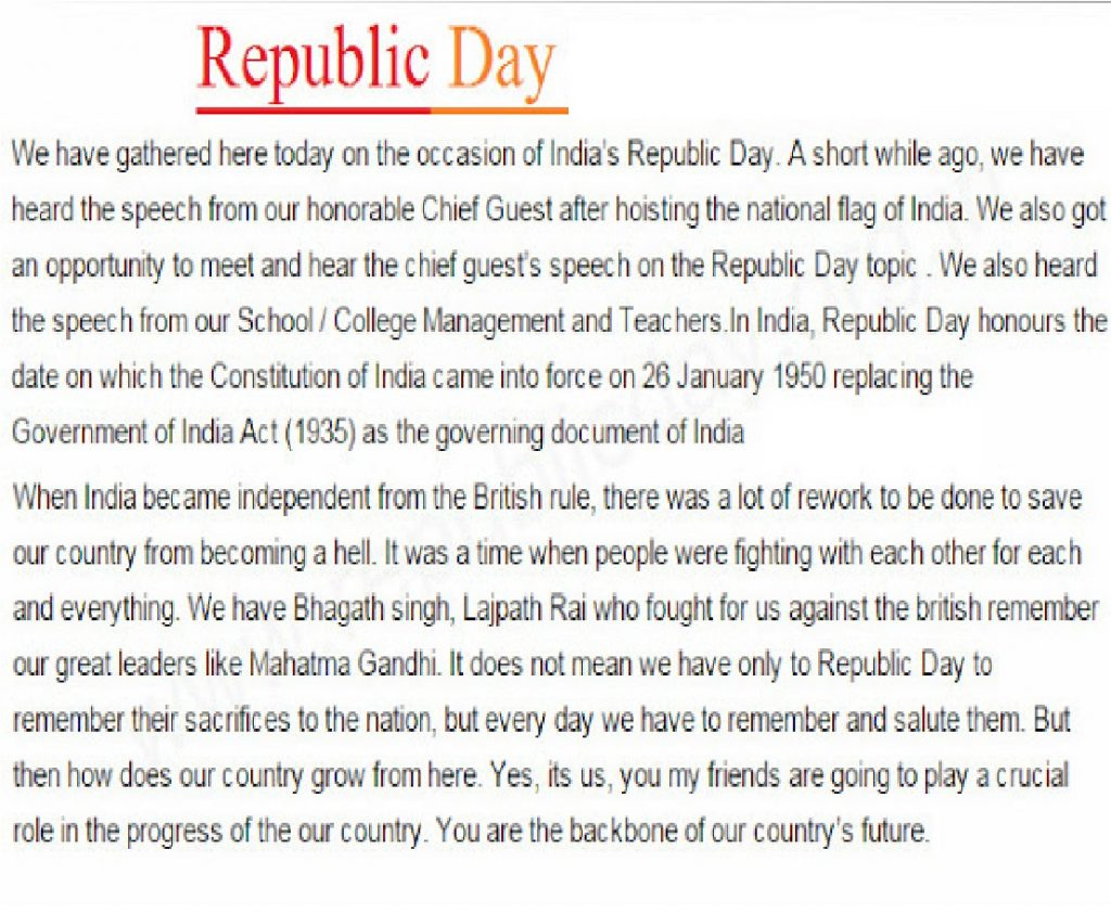 republic day  speech in english for students  teachers  republic day speech in english for students