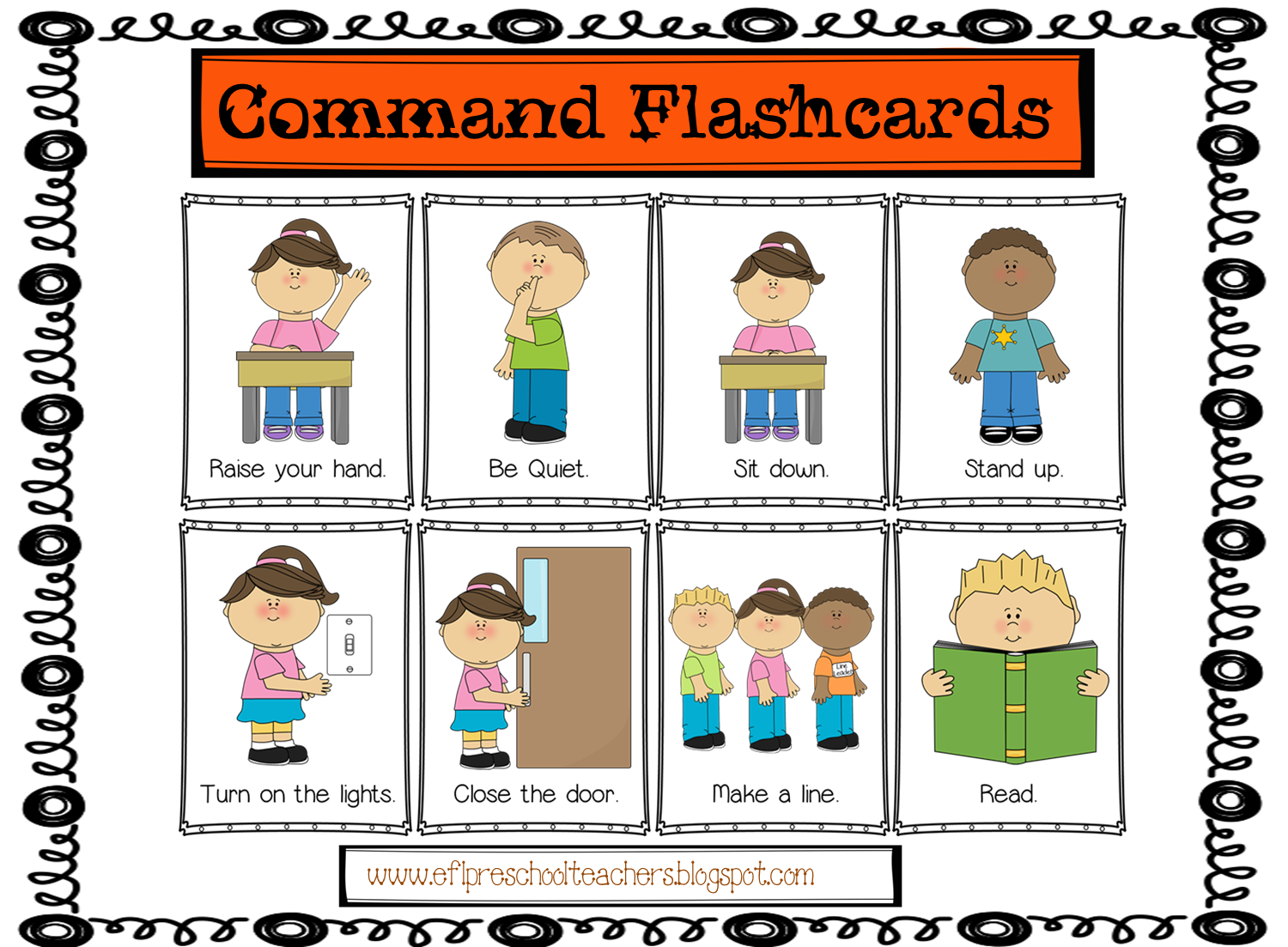 Esl Efl Preschool Teachers Commands