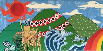 社區隨處可見在地自然資源特色的彩繪