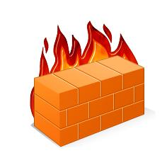 fire burning behind a wall