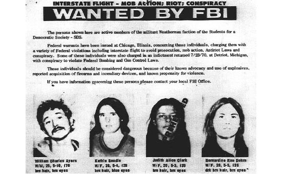Old FBI wanted poster for SDS members